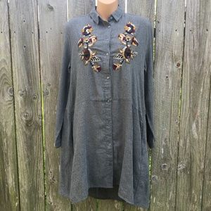 Zara Basic Embroidered Tunic Dress w/ Pockets NWOT